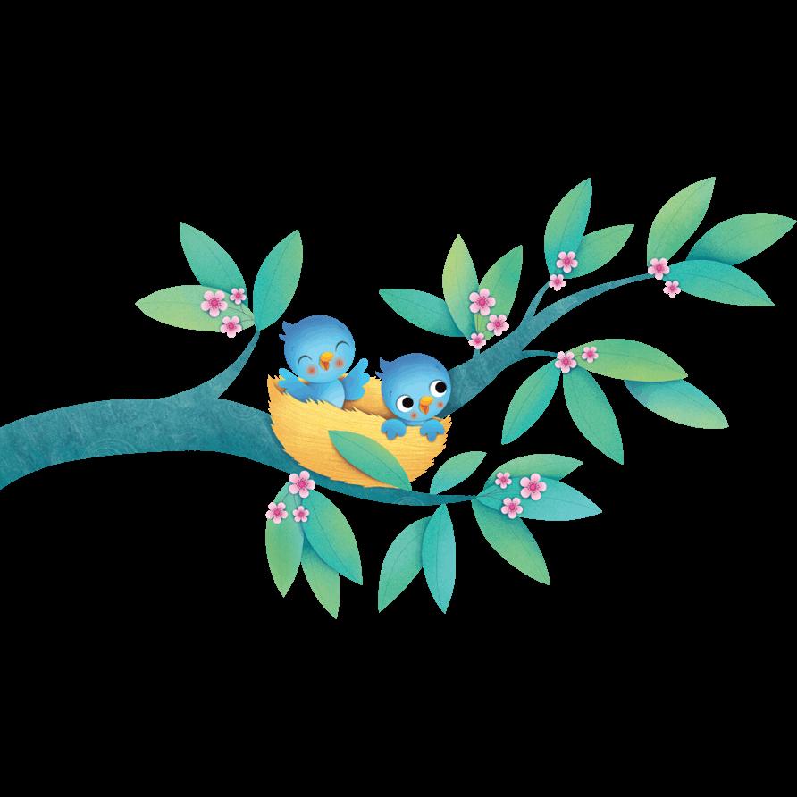 Adesivi murali uccelini nel nido leostickers for Planner cameretta